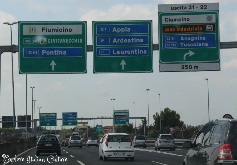 Driving to Rome Fiumicino airport.