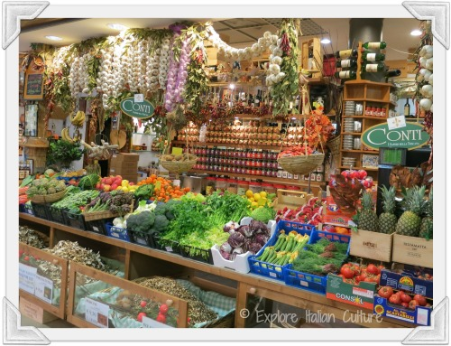 A fresh fruit and veg stall in Florence market