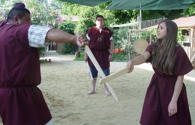 A female fight at the gladiator school