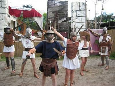 Kids are taught about ancient Rome at the gladiator schoo