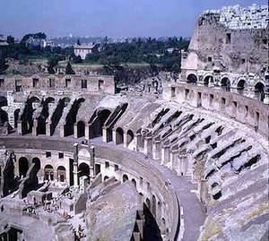 Roman Colosseum view  top