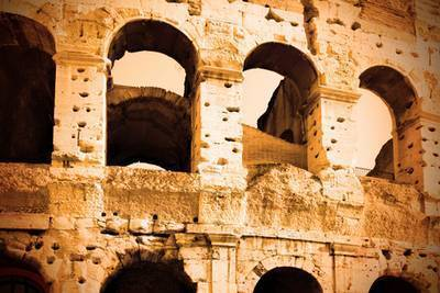Roman Colosseum golden glow