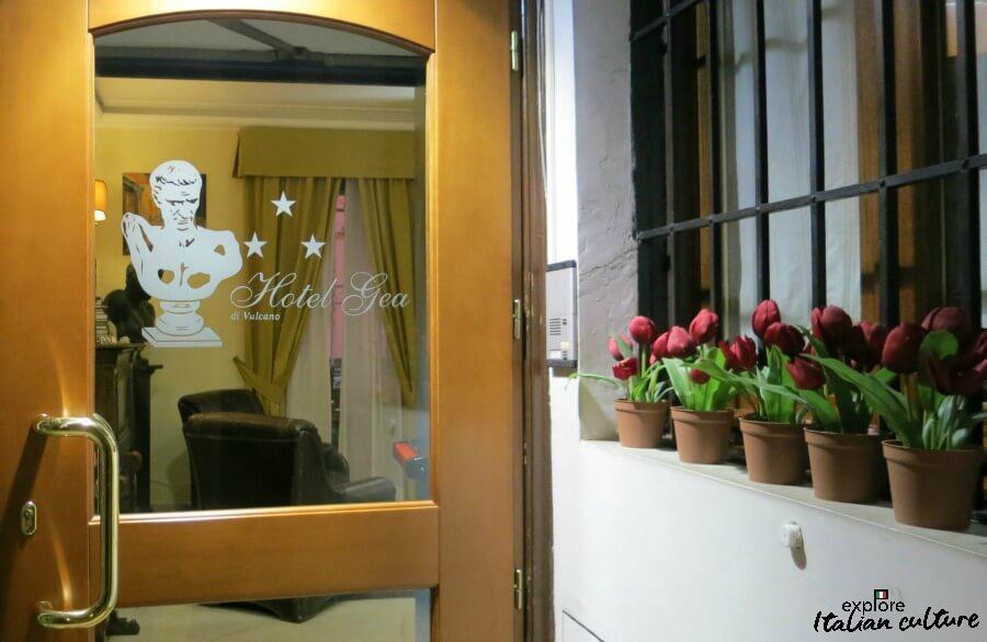 The front door of Rome's Hotel Gea.