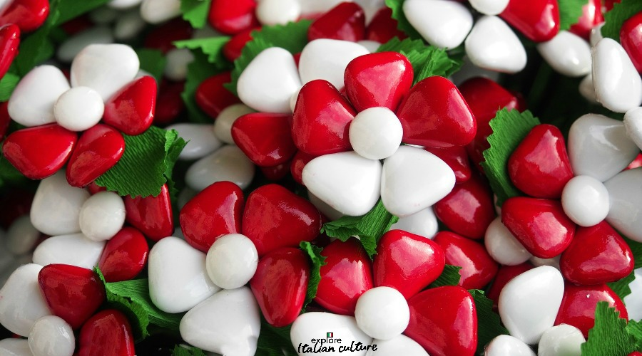 Italian flag coloured sugared almonds.
