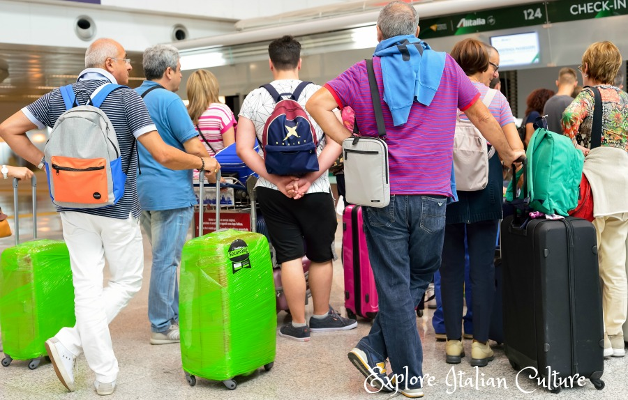 Check-in at Fiumicino airport - it's always an adventure!