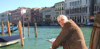 Mike with map of Venice Italy