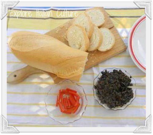 Olive tapenade is good with crusty bread.