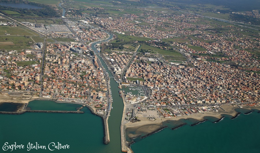 The view flying out of Rome Fiumicino airport, with the small port of Fiumicino ten minutes' away by road from the airport..