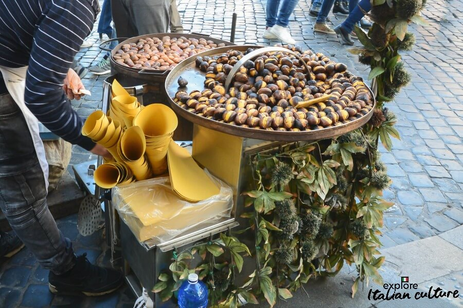 Chestnuts on a stall near the Spanish Steps, Rome.