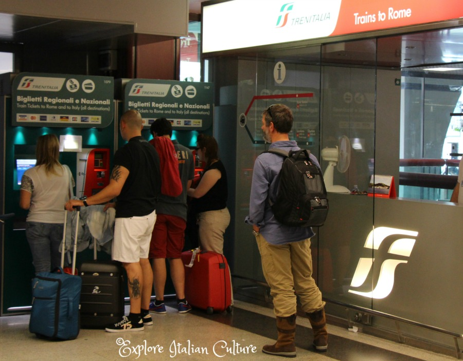 Buying tickets for trains into Rome at Fiumicino airport.
