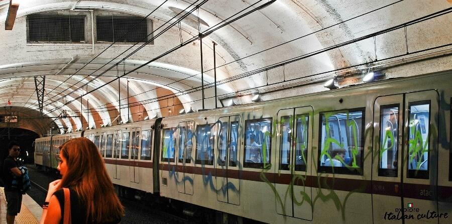 A graffiti-covered train on Rome's Metro.