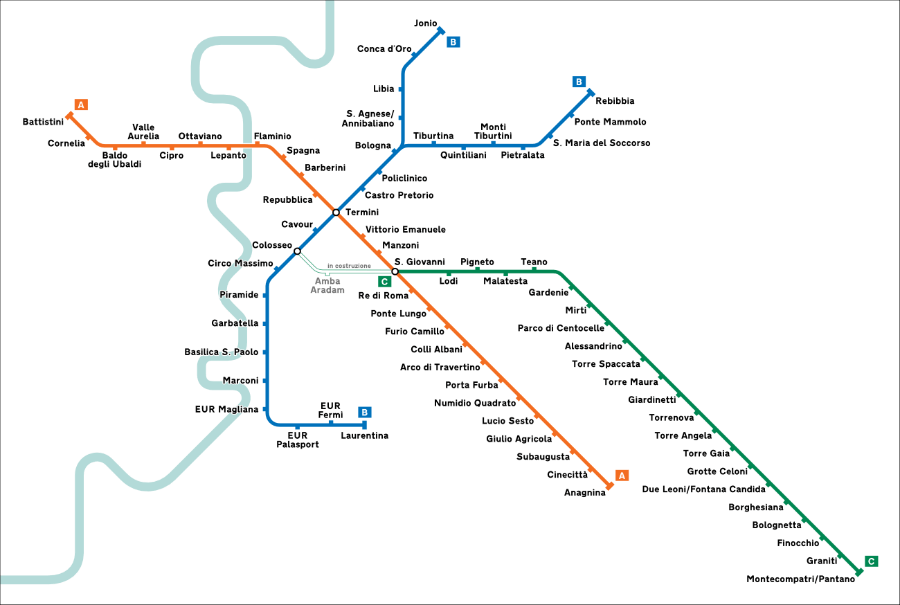 A map of the Rome Metro.