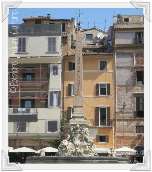 Bernini's fountain outside the Pantheon in Rome