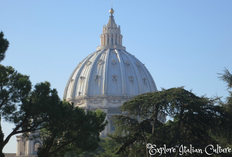 The dome of St Peter's Basilica, Rome, seen from the Vatican gardens in late March.