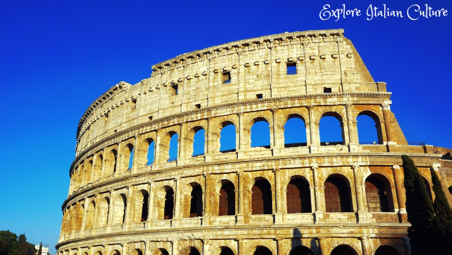 The Colosseum in Rome, against a cobalt blue sky, in August. An amazing backdrop for photos.