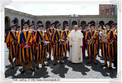 The Swiss Guard with Pope Francis.