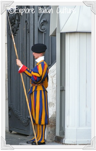 Swiss guard on duty at St Peter's Basilica, Rome