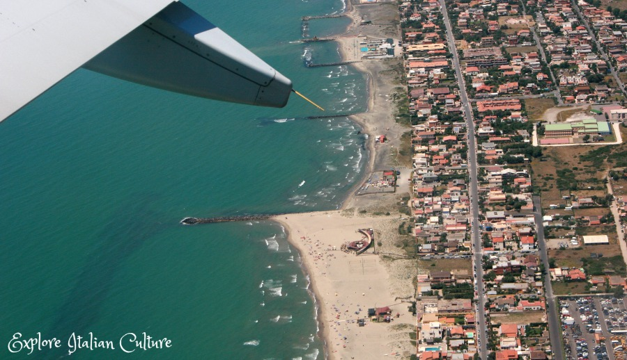Taking off from Fiumicino airport, Mediterranean Sea beneath.