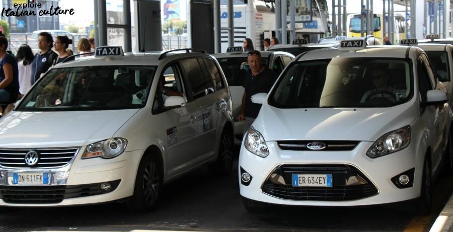 Taxi rank at Fiumicino airport.