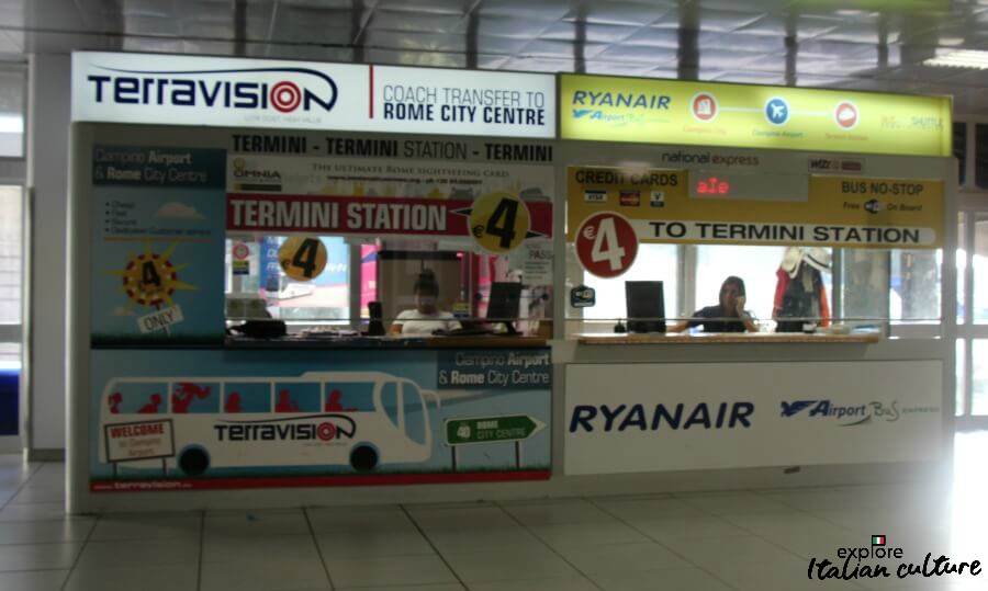The Terravision booth at Ciampino airport.