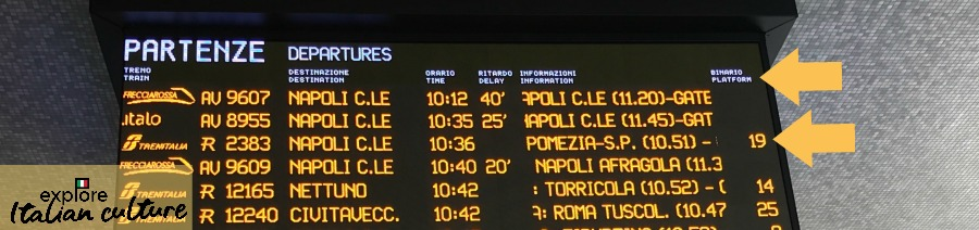 Train movements board, Termini station, Rome, Italy.